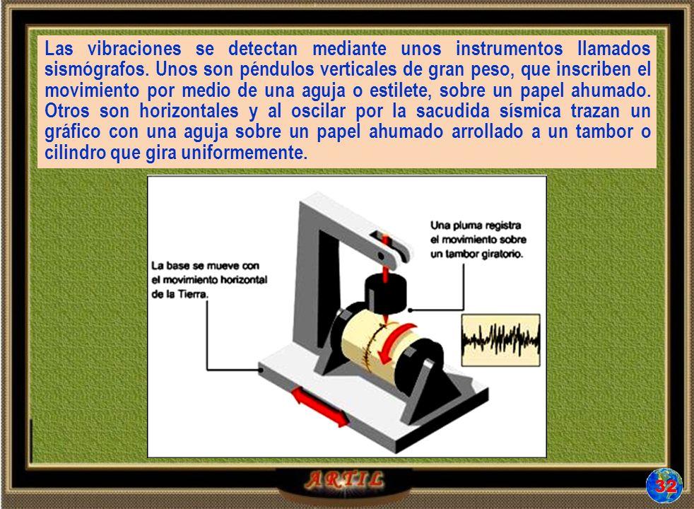 Las vibraciones se detectan mediante unos instrumentos llamados sismógrafos. Unos son péndulos verticales de gran peso, que inscriben el movimiento por medio de una aguja o estilete, sobre un papel ahumado. Otros son horizontales y al oscilar por la sacudida sísmica trazan un gráfico con una aguja sobre un papel ahumado arrollado a un tambor o cilindro que gira uniformemente.