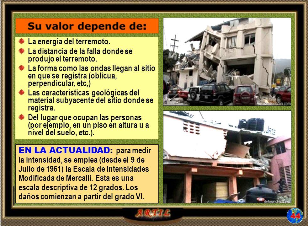 La energía del terremoto.