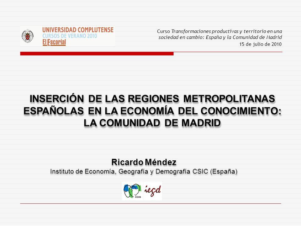 INSERCIÓN DE LAS REGIONES METROPOLITANAS