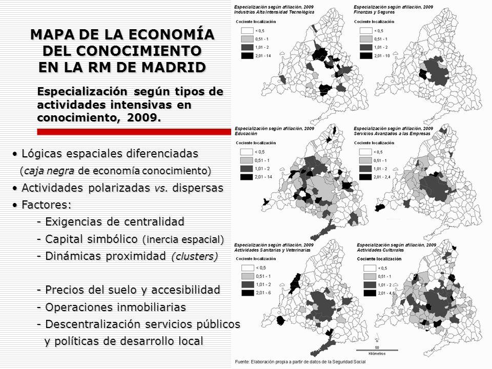 MAPA DE LA ECONOMÍA DEL CONOCIMIENTO EN LA RM DE MADRID
