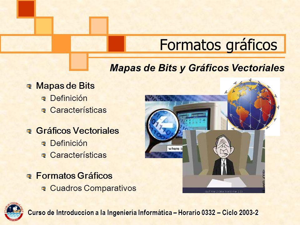 Formatos gráficos Mapas de Bits y Gráficos Vectoriales Mapas de Bits
