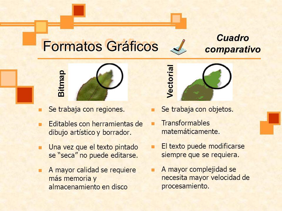 Formatos Gráficos Cuadro comparativo Vectorial Bitmap
