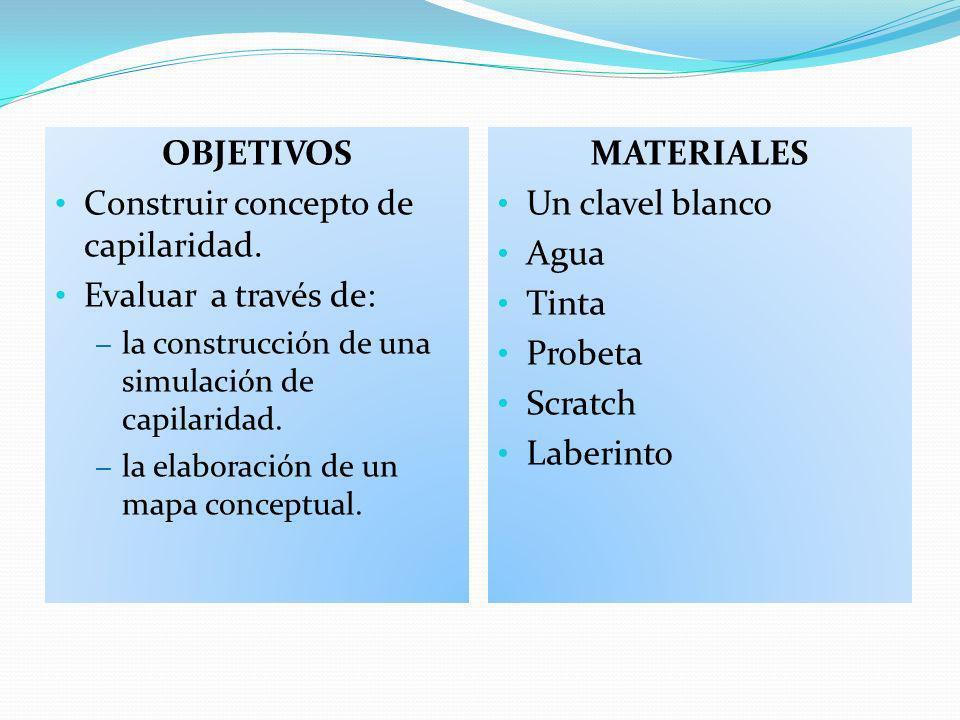 Construir concepto de capilaridad. Evaluar a través de: MATERIALES