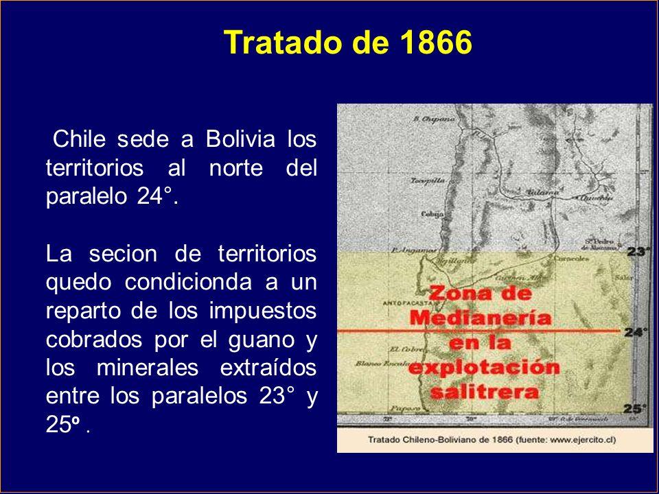 Tratado de 1866 Chile sede a Bolivia los territorios al norte del paralelo 24°.