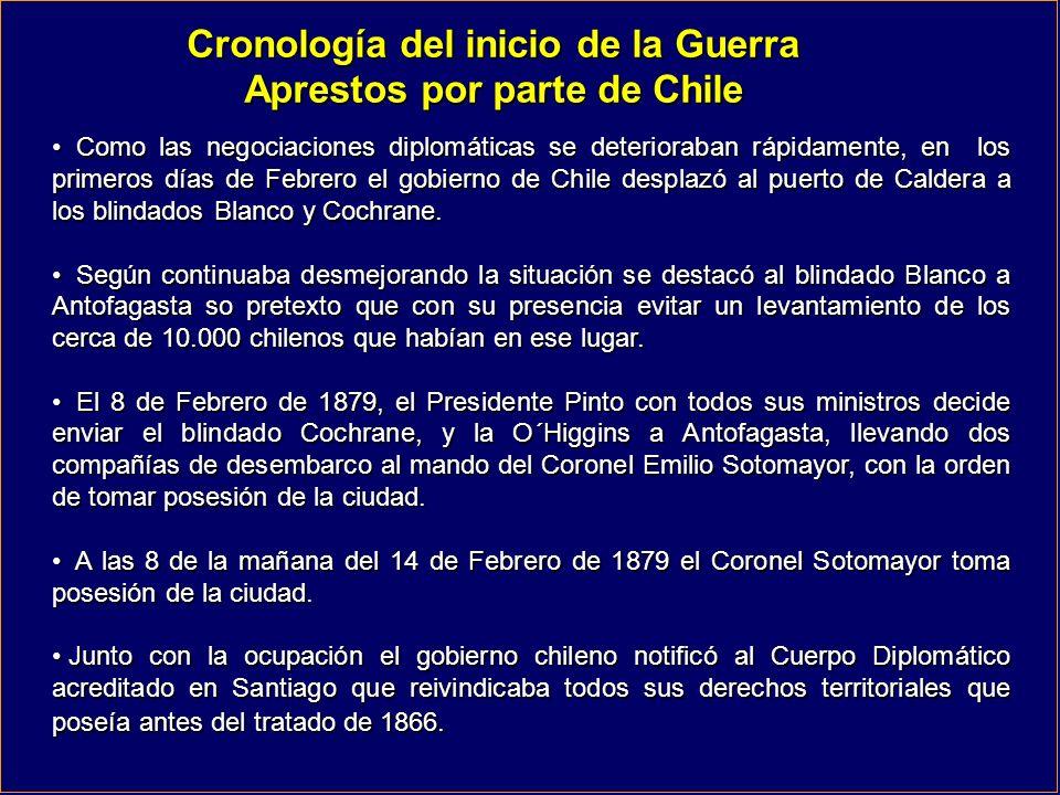 Cronología del inicio de la Guerra Aprestos por parte de Chile