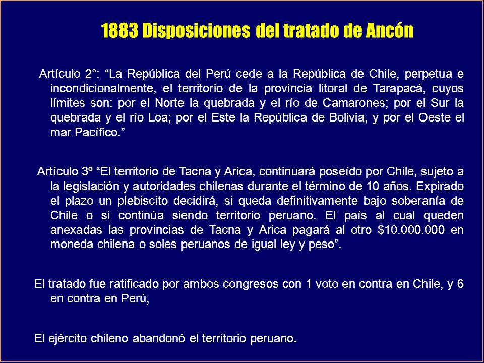 1883 Disposiciones del tratado de Ancón