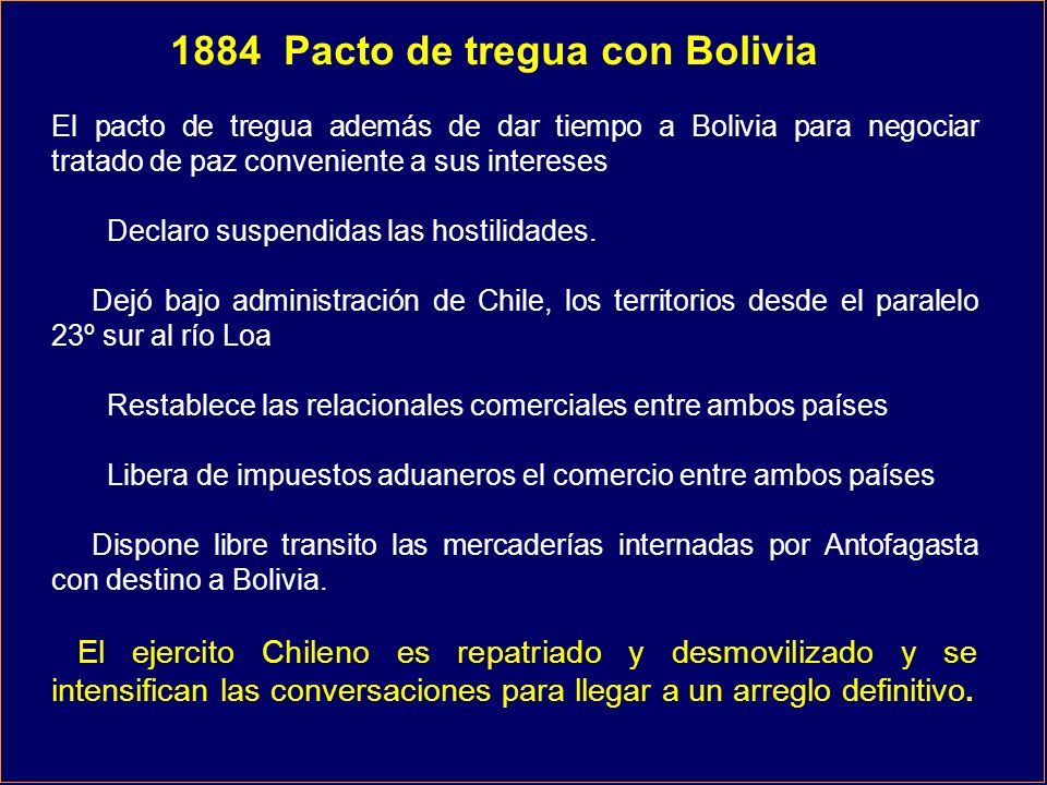 1884 Pacto de tregua con Bolivia