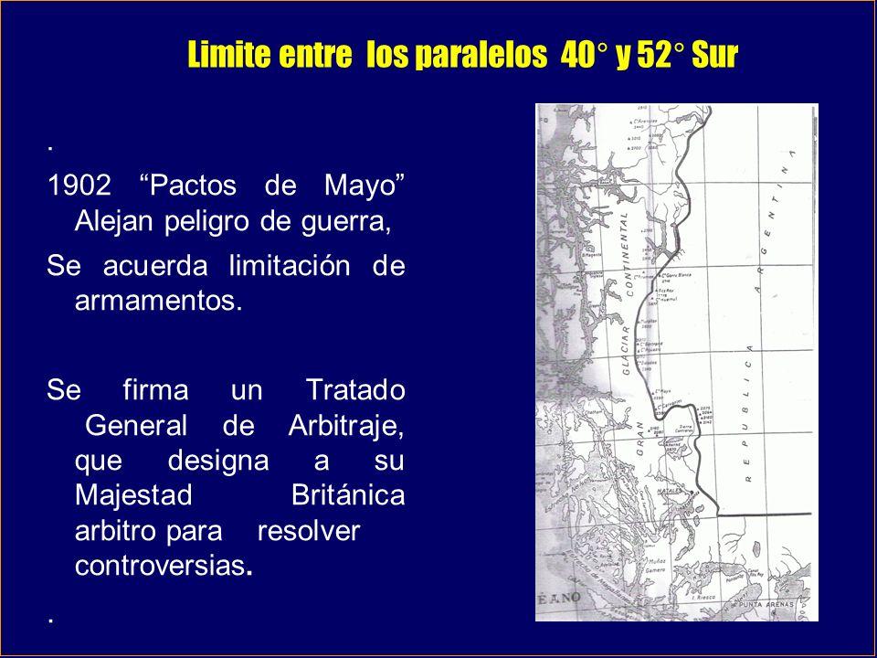 Limite entre los paralelos 40° y 52° Sur