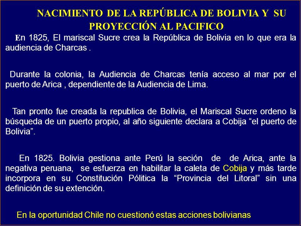 NACIMIENTO DE LA REPÚBLICA DE BOLIVIA Y SU PROYECCIÓN AL PACIFICO