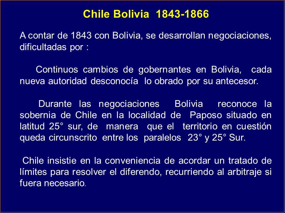 Chile Bolivia 1843-1866 A contar de 1843 con Bolivia, se desarrollan negociaciones, dificultadas por :