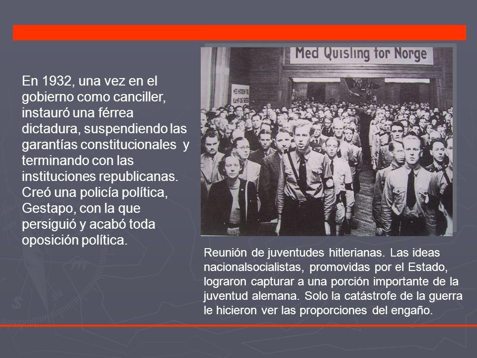 En 1932, una vez en el gobierno como canciller, instauró una férrea dictadura, suspendiendo las garantías constitucionales y terminando con las instituciones republicanas. Creó una policía política, Gestapo, con la que persiguió y acabó toda oposición política.