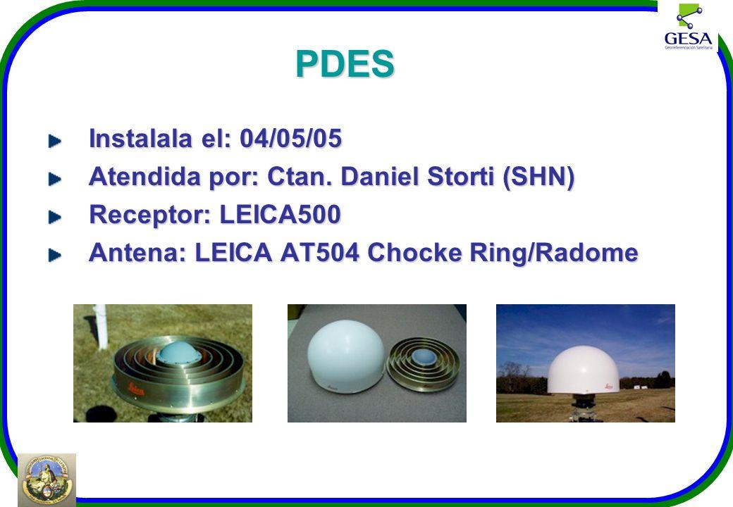 PDES Instalala el: 04/05/05 Atendida por: Ctan. Daniel Storti (SHN)
