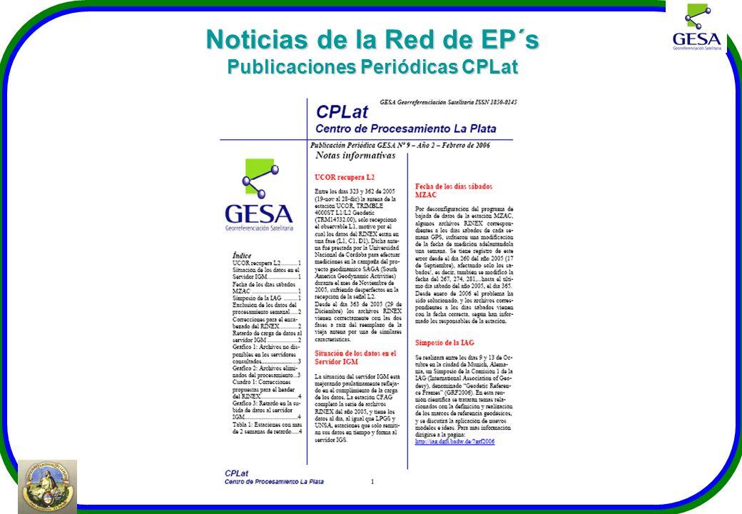 Noticias de la Red de EP´s Publicaciones Periódicas CPLat
