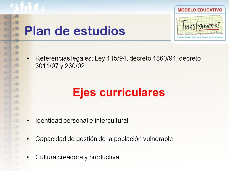 Plan de estudios Ejes curriculares