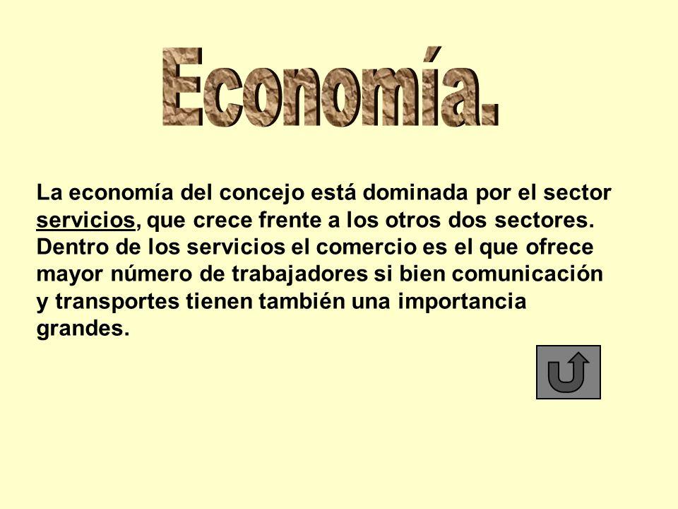 Economía. La economía del concejo está dominada por el sector servicios, que crece frente a los otros dos sectores.