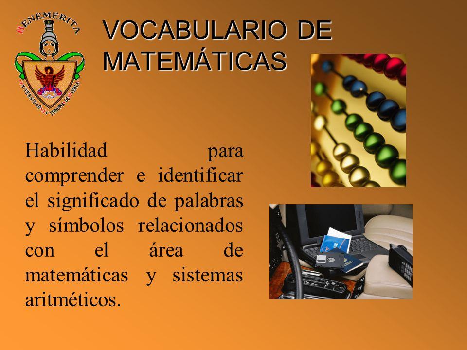 VOCABULARIO DE MATEMÁTICAS