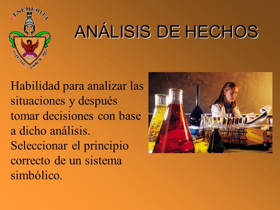 ANÁLISIS DE HECHOS Habilidad para analizar las situaciones y después tomar decisiones con base a dicho análisis.
