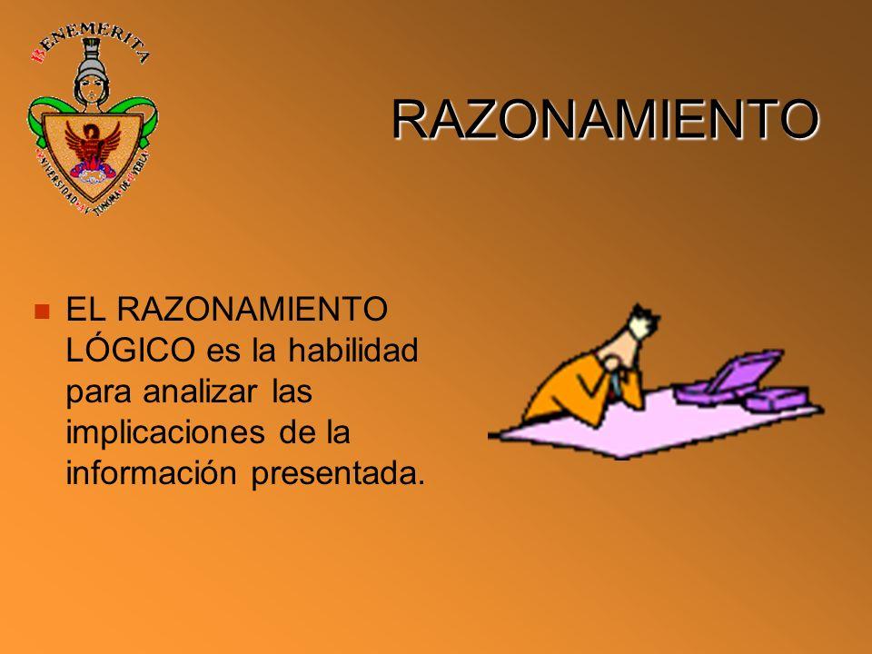 RAZONAMIENTO EL RAZONAMIENTO LÓGICO es la habilidad para analizar las implicaciones de la información presentada.