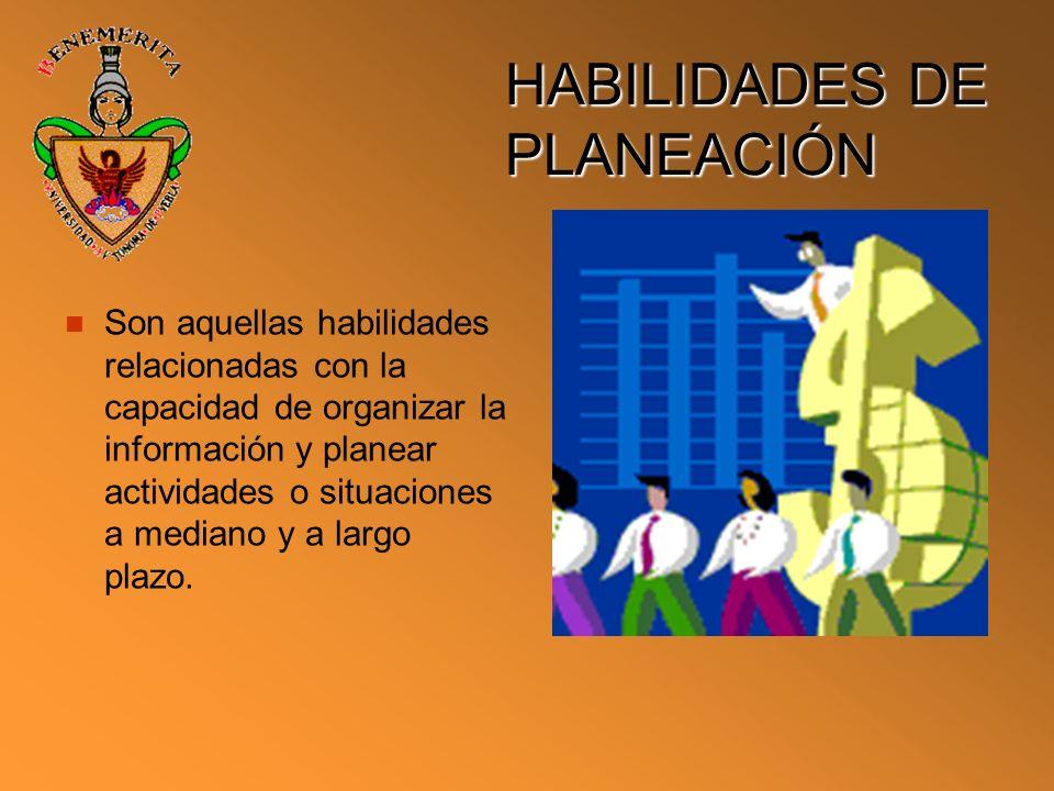 HABILIDADES DE PLANEACIÓN
