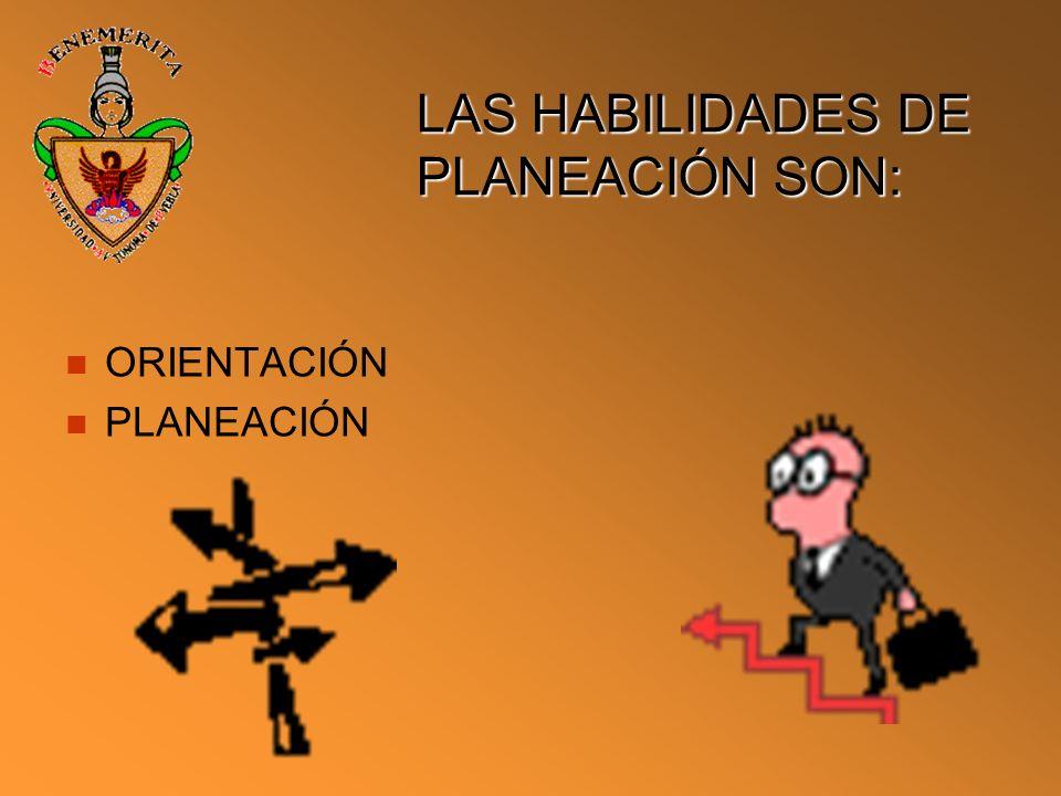 LAS HABILIDADES DE PLANEACIÓN SON: