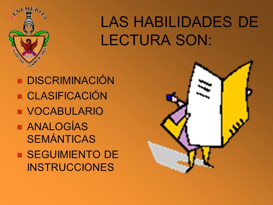 LAS HABILIDADES DE LECTURA SON: