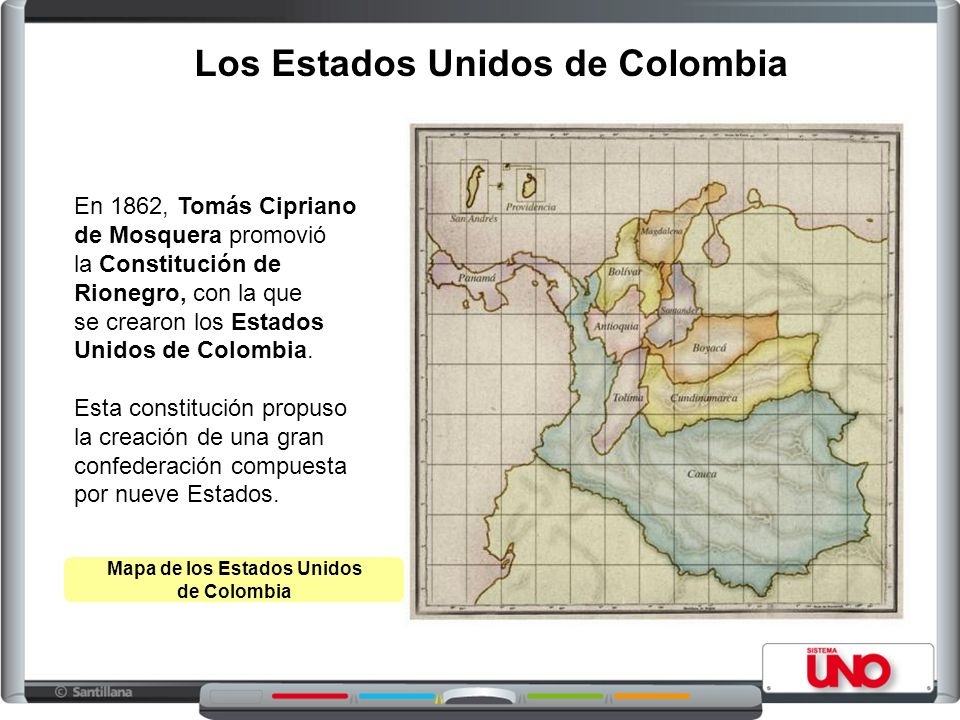 Los Estados Unidos de Colombia Mapa de los Estados Unidos