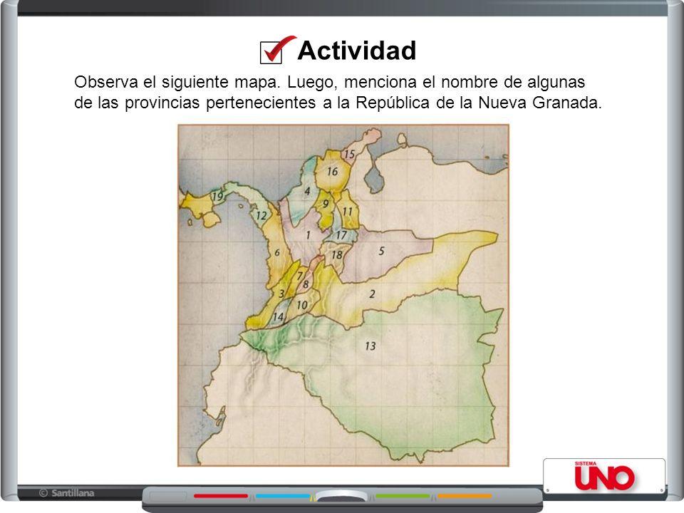 Actividad Observa el siguiente mapa.