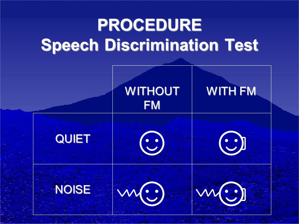 PROCEDURE Speech Discrimination Test