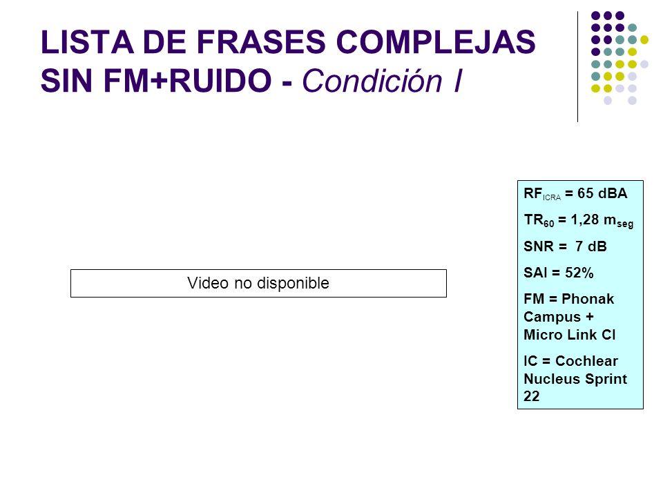 LISTA DE FRASES COMPLEJAS SIN FM+RUIDO - Condición I