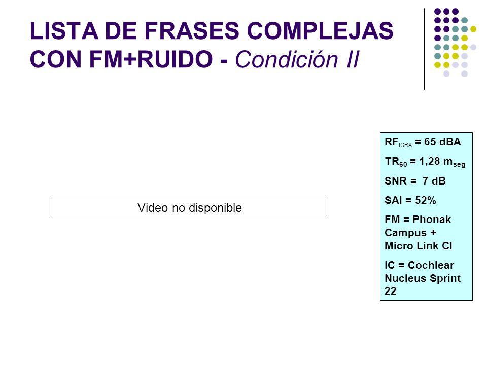 LISTA DE FRASES COMPLEJAS CON FM+RUIDO - Condición II