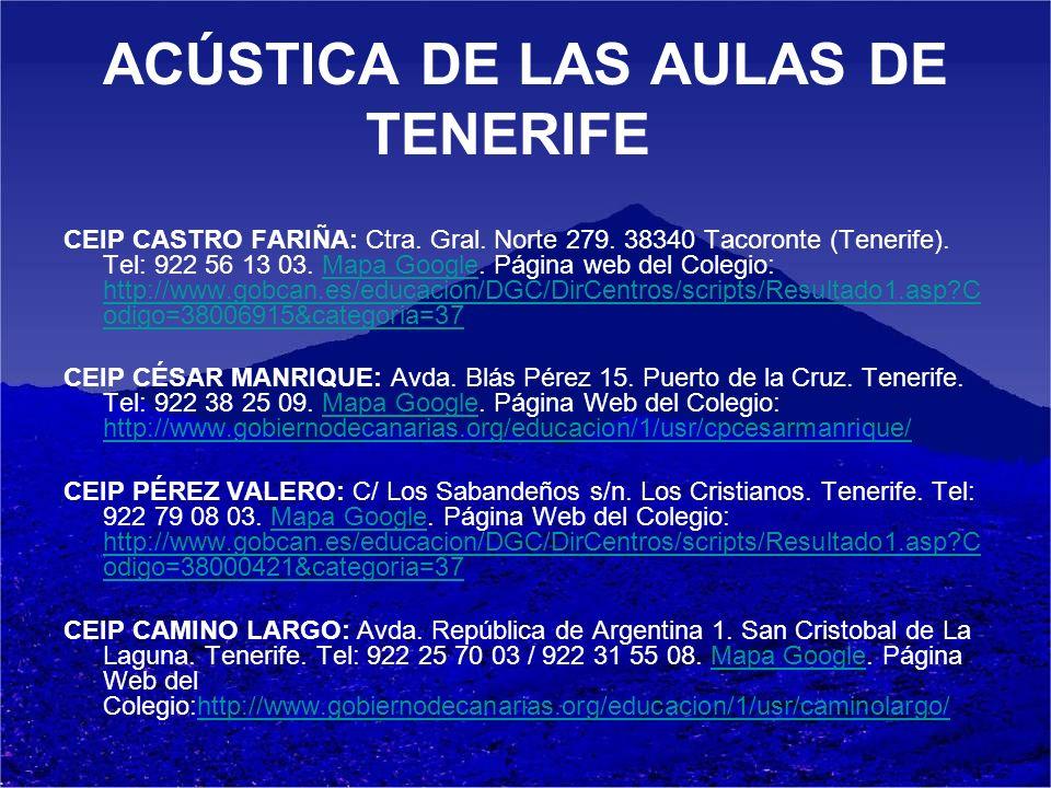 ACÚSTICA DE LAS AULAS DE TENERIFE