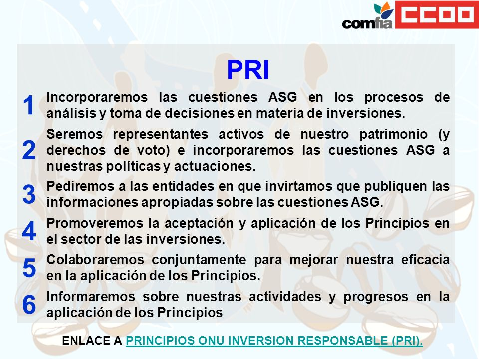 ENLACE A PRINCIPIOS ONU INVERSION RESPONSABLE (PRI).