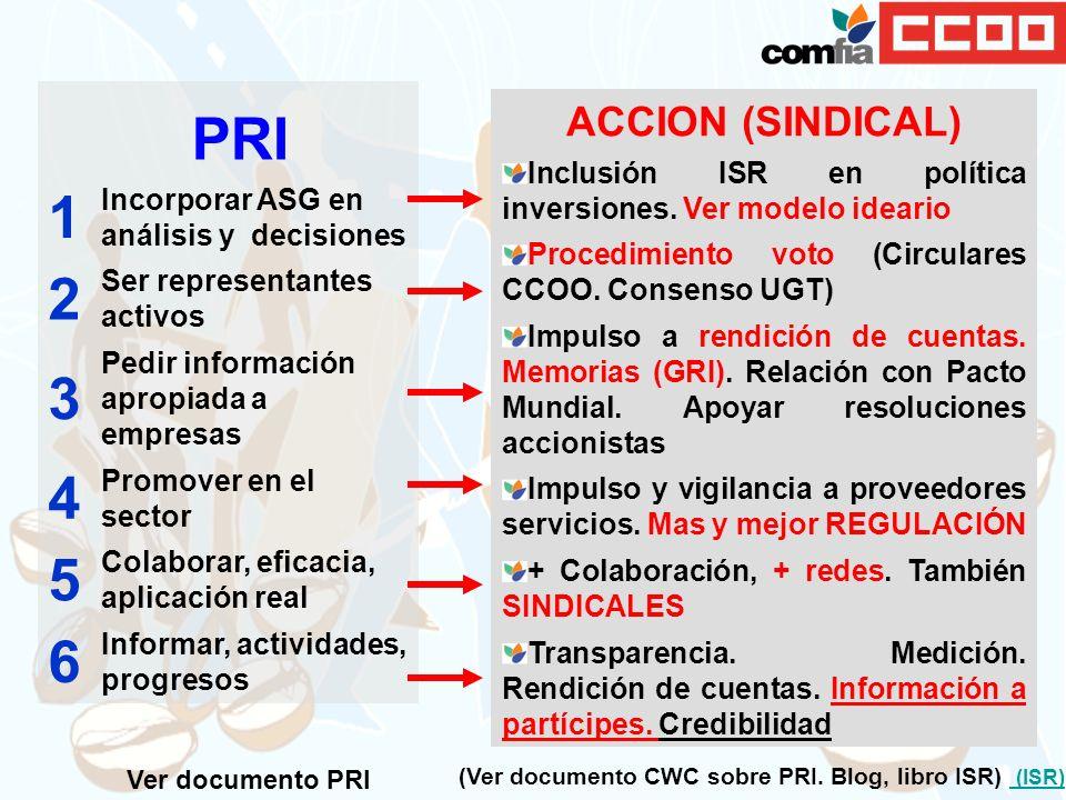 PRI 1. Incorporar ASG en análisis y decisiones. 2. Ser representantes activos. 3. Pedir información apropiada a empresas.