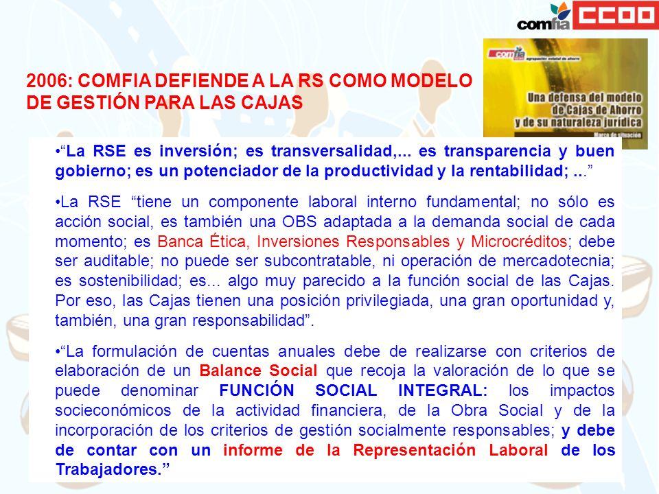 2006: COMFIA DEFIENDE A LA RS COMO MODELO DE GESTIÓN PARA LAS CAJAS