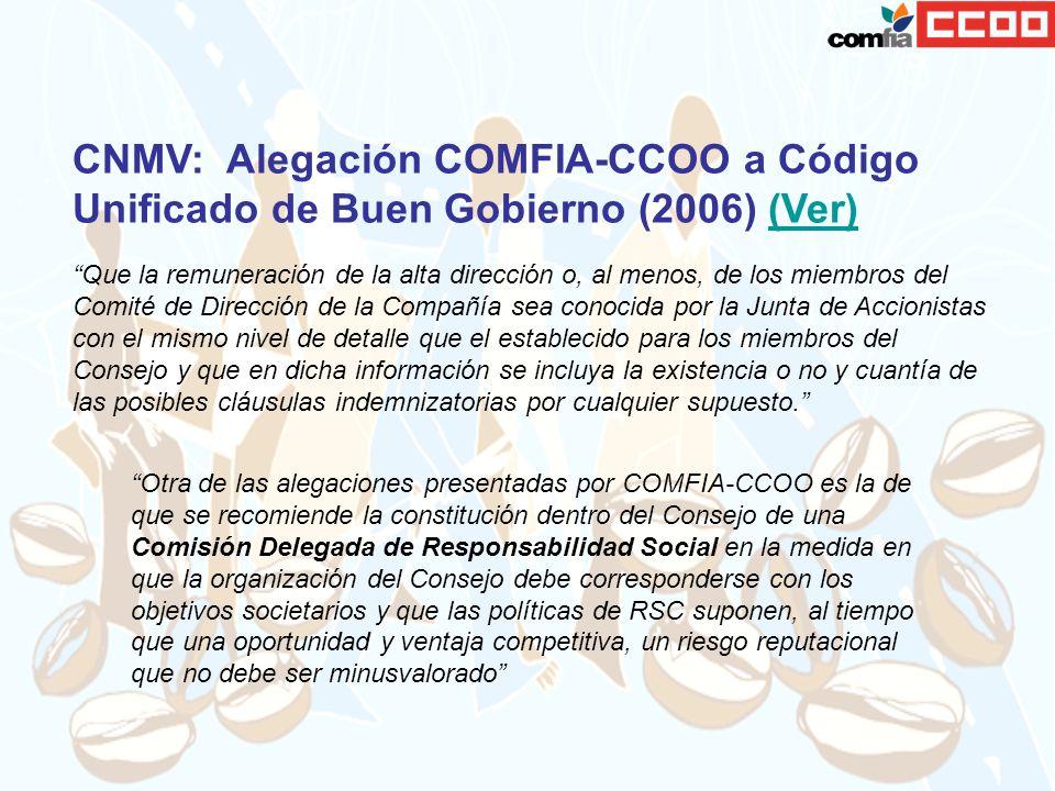 CNMV: Alegación COMFIA-CCOO a Código Unificado de Buen Gobierno (2006) (Ver)