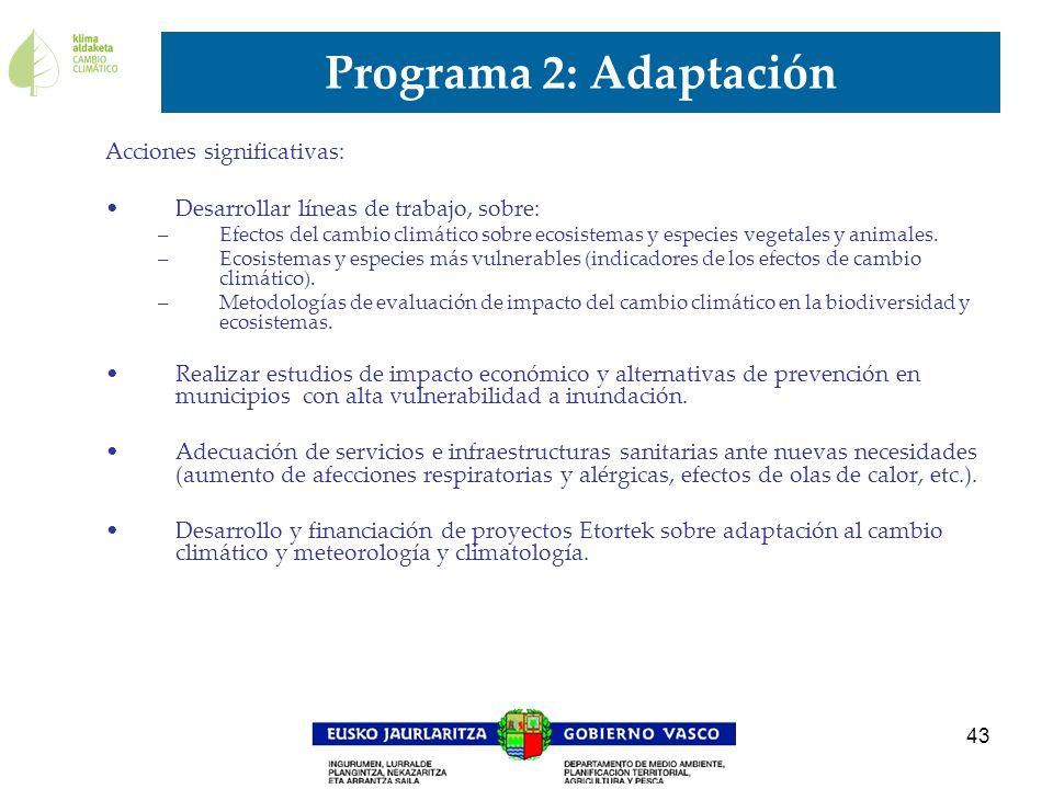 Programa 2: Adaptación Acciones significativas: