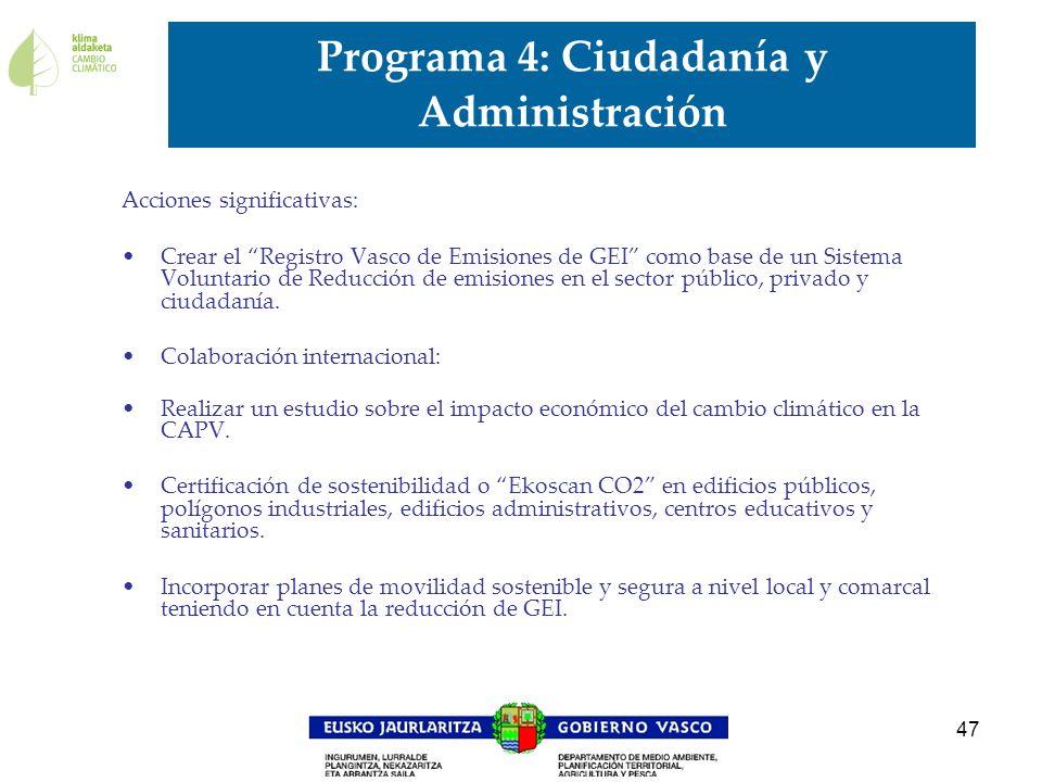 Programa 4: Ciudadanía y Administración