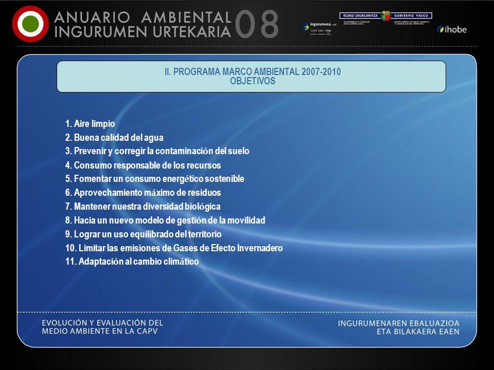 II. PROGRAMA MARCO AMBIENTAL 2007-2010 OBJETIVOS