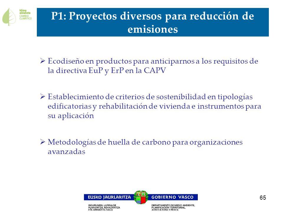 P1: Proyectos diversos para reducción de emisiones