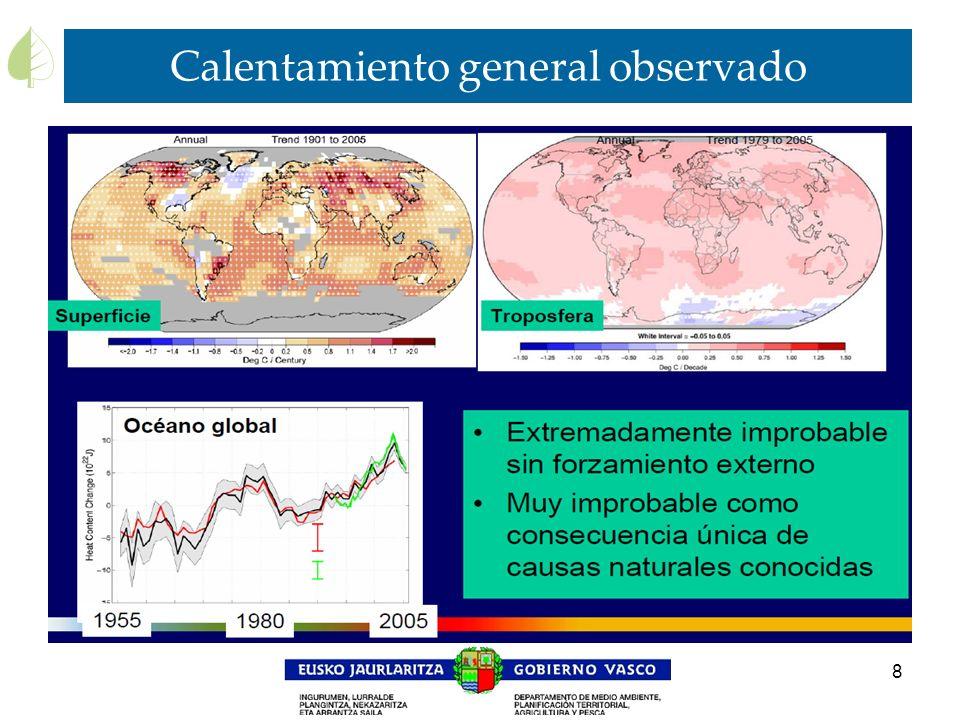Calentamiento general observado