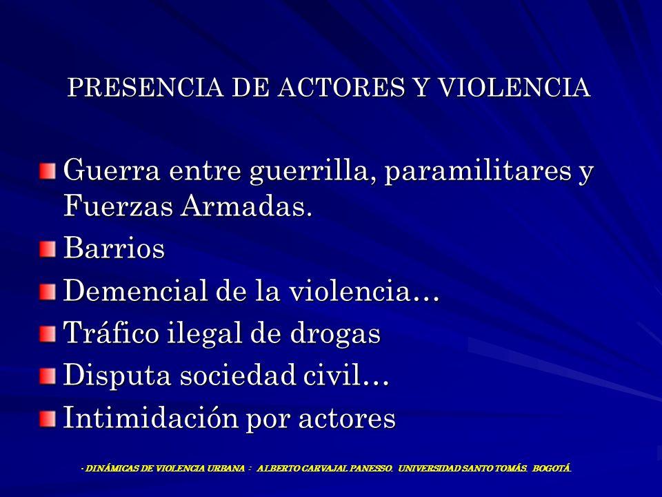 PRESENCIA DE ACTORES Y VIOLENCIA