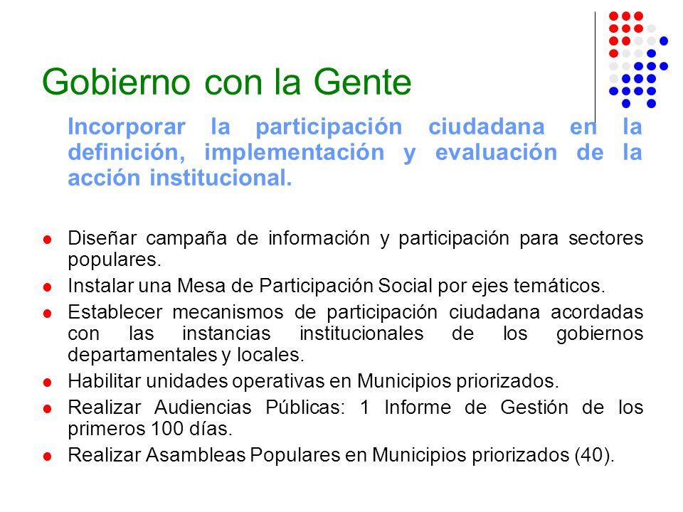 Gobierno con la Gente Incorporar la participación ciudadana en la definición, implementación y evaluación de la acción institucional.