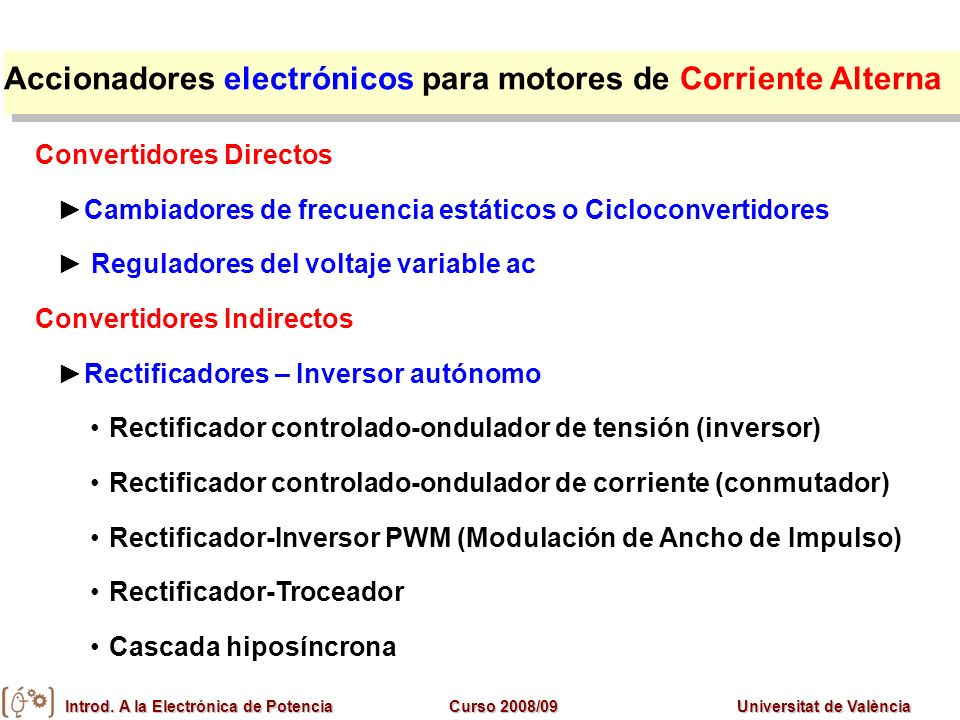 Accionadores electrónicos para motores de Corriente Alterna