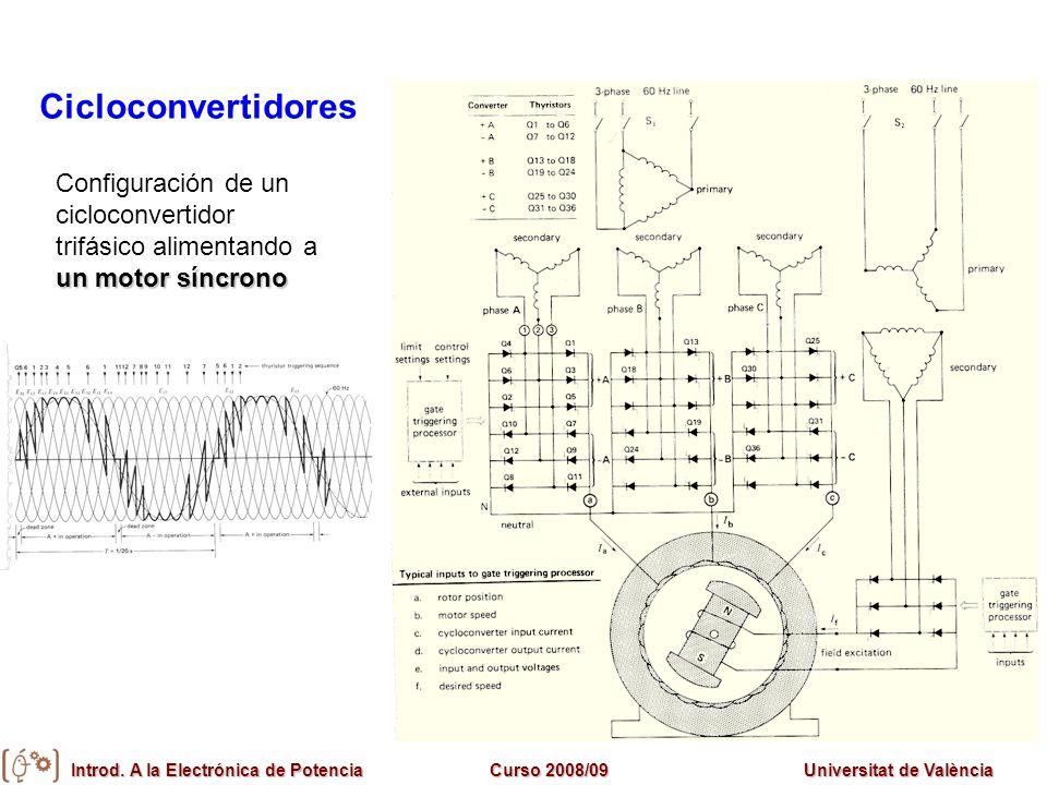 Cicloconvertidores Configuración de un cicloconvertidor trifásico alimentando a un motor síncrono
