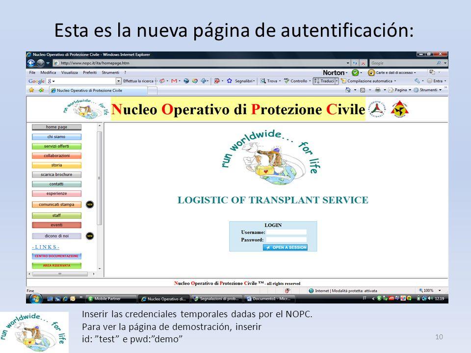 Esta es la nueva página de autentificación: