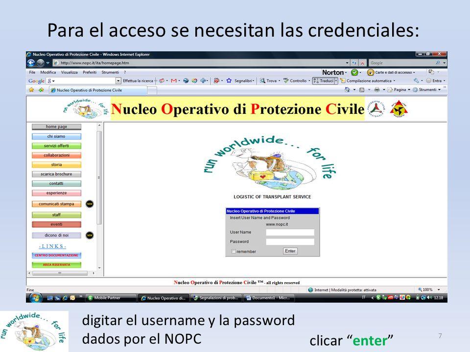 Para el acceso se necesitan las credenciales: