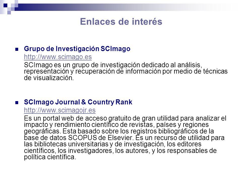 Enlaces de interés Grupo de Investigación SCImago