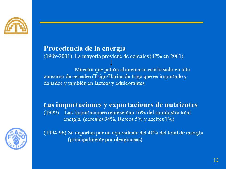 Procedencia de la energía (1989-2001) La mayoria proviene de cereales (42% en 2001) Muestra que patrón alimentario está basado en alto consumo de cereales (Trigo/Harina de trigo que es importado y donado) y también en lacteos y edulcorantes Las importaciones y exportaciones de nutrientes (1999) Las Importaciones representan 16% del suministro total energía (cereales 94%, lácteos 5% y aceites 1%) (1994-96) Se exportan por un equivalente del 40% del total de energía (principalmente por oleaginosas)