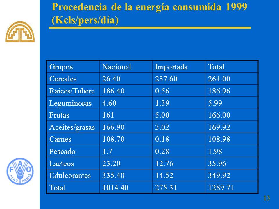 Procedencia de la energía consumida 1999 (Kcls/pers/día)