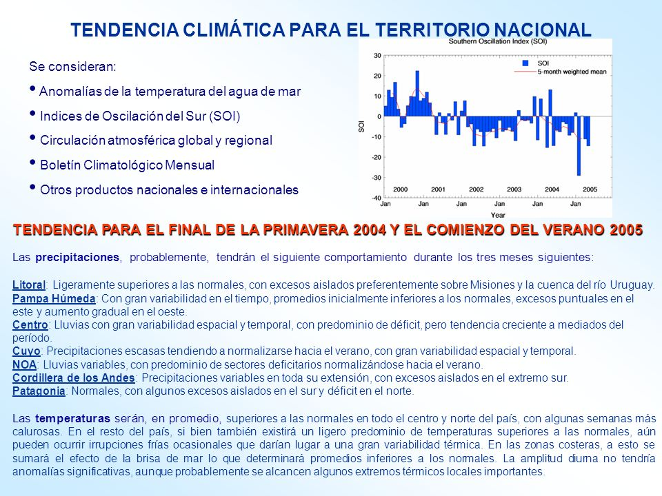 TENDENCIA CLIMÁTICA PARA EL TERRITORIO NACIONAL